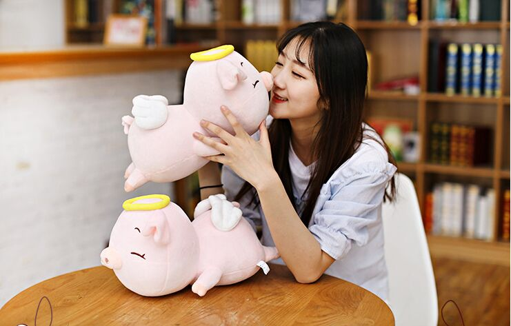 one piece small cute creative plush pink pig toy soft angel pig doll gift about 60cm 2677