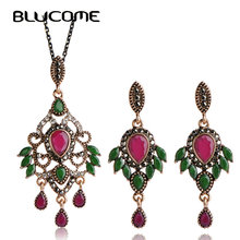 Blucome Vintage Wing Shape Pendant Necklace Earring Set Dangle Earrings Choker Antique Gold-color Resin Jewelry Sets For Women