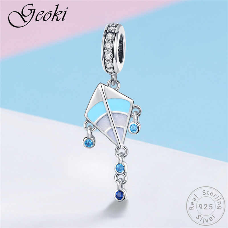 Geoki 925 Sterling Silver Blue Kite Charms fit Original Pandora Bracelet Girls Jewelry Making Children's Gift Necklace Pendant