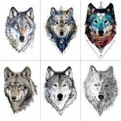 HXMAN Wolf временные тату наклейки водонепроницаемые женские поддельные ручные татуировки животных Взрослые Мужской боди-арт 9.8X6cm A-085