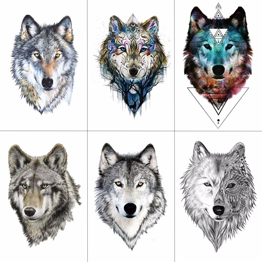 WYUEN Colorful Wolf Head Ժամանակավոր դաջվածքներ - Դաջվածքներ և մարմնի արվեստ