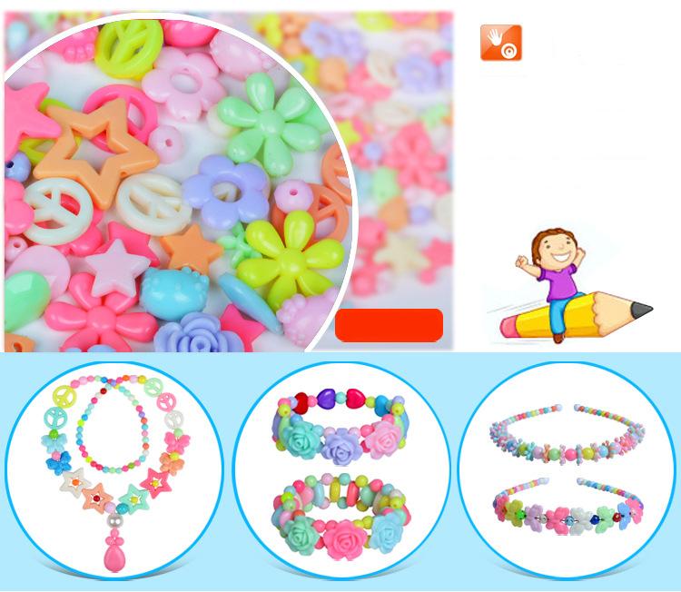 Children DIY Plastic Acrylic Bead Kit Girl Toys DIY Beaded Handmade Bracelet Amblyopia Training Color Puzzle Early Education Toy (7)
