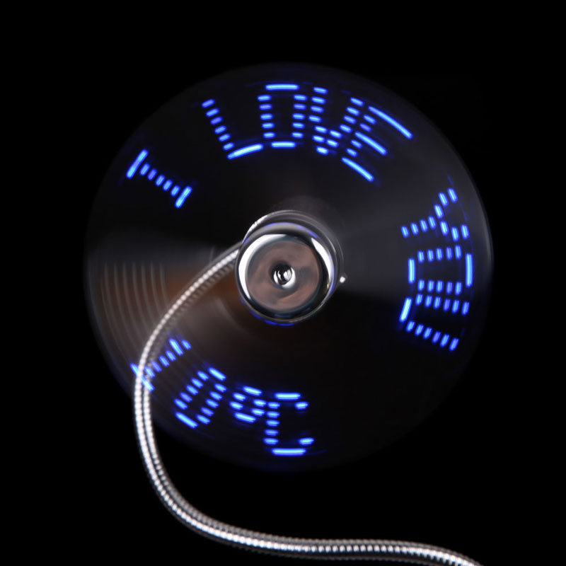 5 v USB Gadgets Flexible LED Flash USB Fan with Real time Temperature Display