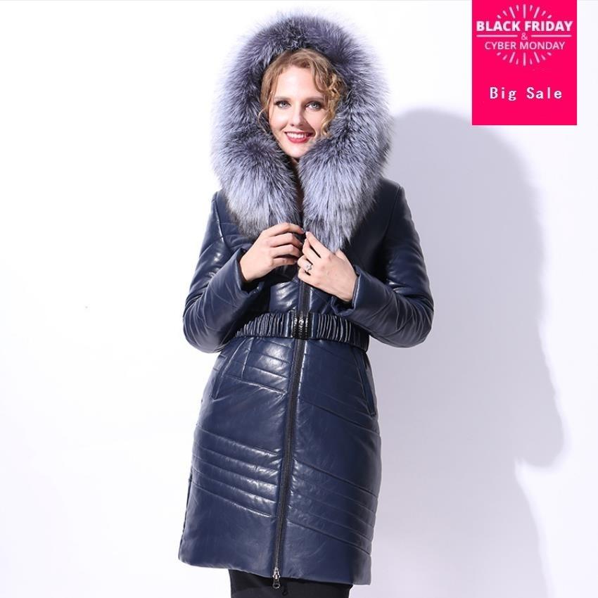 7e745265635e ... Women Thick Long White Goose Down Jacket Parkas. US  108.12. Winter  Plus size Real Goose down coat fashion brand natural fox fur hooded goose  down ...