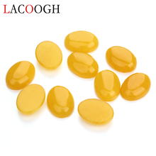 Wholesale Fashion 10pcs Natural Bulk Yellow Stone Beads 10x14 13x18mm Flat Back Oval Cabochons for Jewelry Making