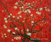 art Oil paintings Branches Of An Almond Tree In Blossom in Red Vincent Van Gogh reproduction Handmade High quality