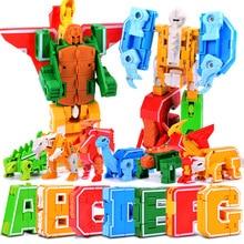 Alphabet Blok DIY Kreatif Perakitan Transformer Robot Mainan Surat Dinosaurus Taman Deformasi Star Wars Blok Bangunan Mainan