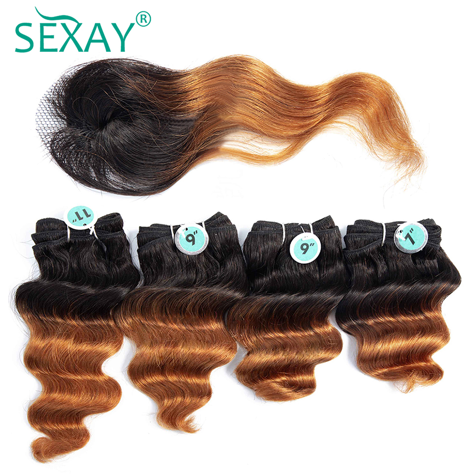 SEXAY Brazilian Loose Deep Human Hair Extensions #1B/30 Brown Color 4 Bundles With Top Lace Closure Non Remy Hair Totally 170g