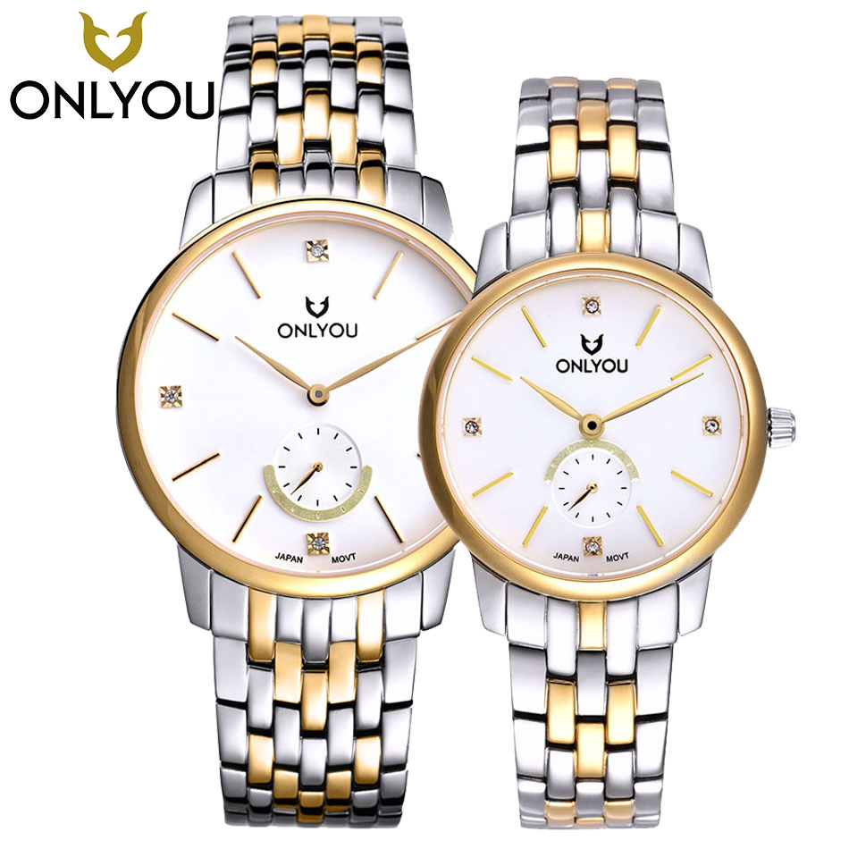 ONLYOU Couple Watches Men Top brand Luxury Gold/Black Watches Women Quartz Wristwatches Ladies Full Steel Bracelet Dress Watch onlyou new brand quartz lovers watches women men dress stainless steel band dress wristwatches fashion casual watch gold 1 pair