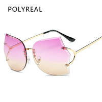 POLYREAL 2017 New Fashion Oversized Rimless Sunglasses Women Brand Designer Gradient Ocean Metal Frame Rimless Sun