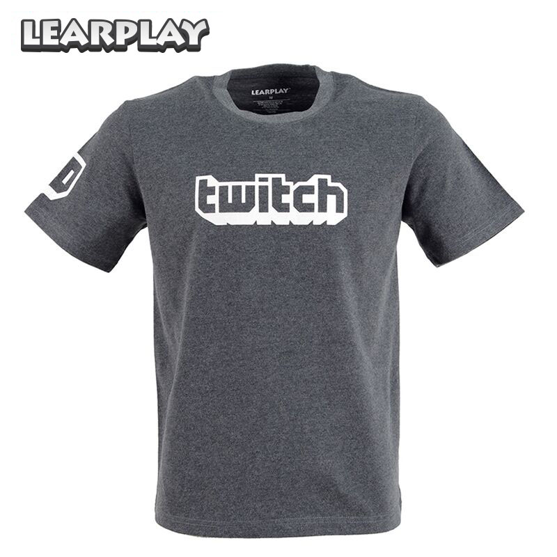 Twitch Logo Tee Parody Cool New Streamer Casual Wear T-Shirt Summer Short Sleeve Grey Tops Shirt Unisex Adults Basic