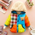 2017 Marca o Inverno Do Bebê Boys & Girls Roupas Roupas Crianças das Crianças Jaqueta Grossa Amassado Urso Dos Desenhos Animados de Algodão-acolchoado Outwear quente