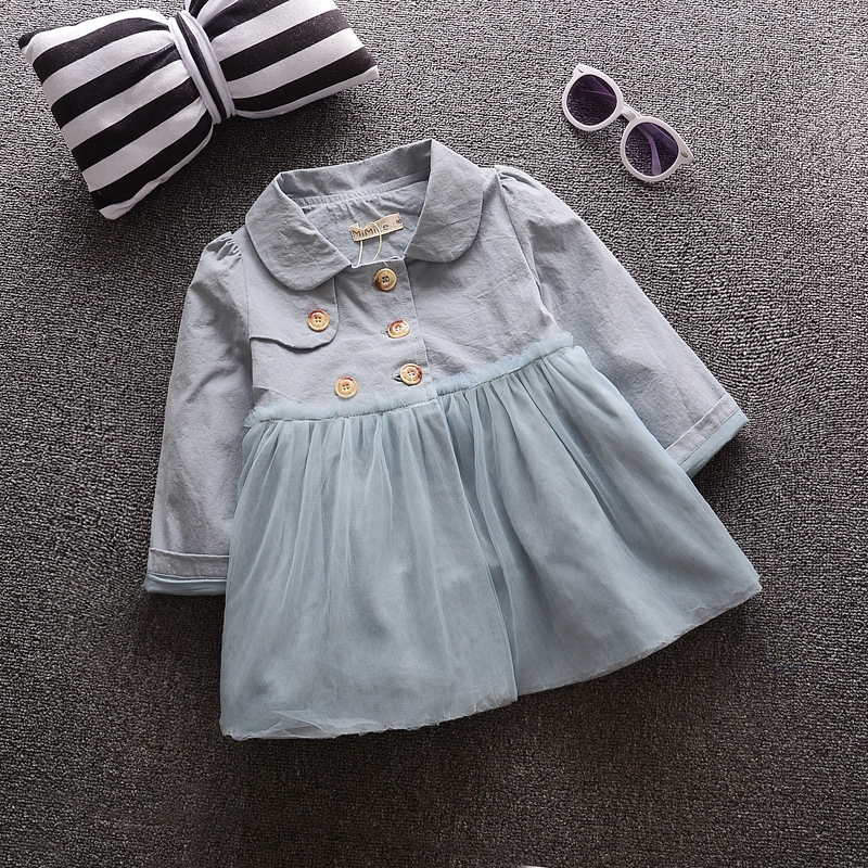 ФОТО Children Outerwear Spring Autumn Babi Girls Trench Jackets Coats Chiffon double-breasted Baby Girls clothing sets Kids Clothes