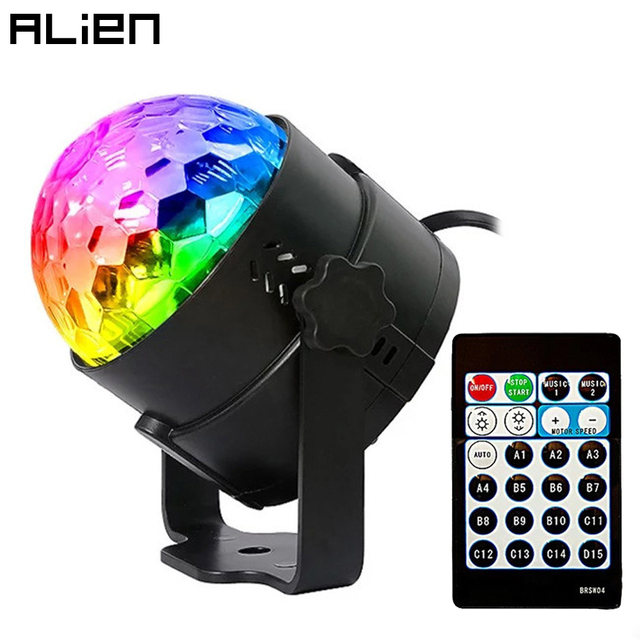 ALIEN 4W 15 Colors Sound Activated Crystal Magic Ball RGB LED Stage Lighting Effect Party DJ Disco Lamp With Remote Controller
