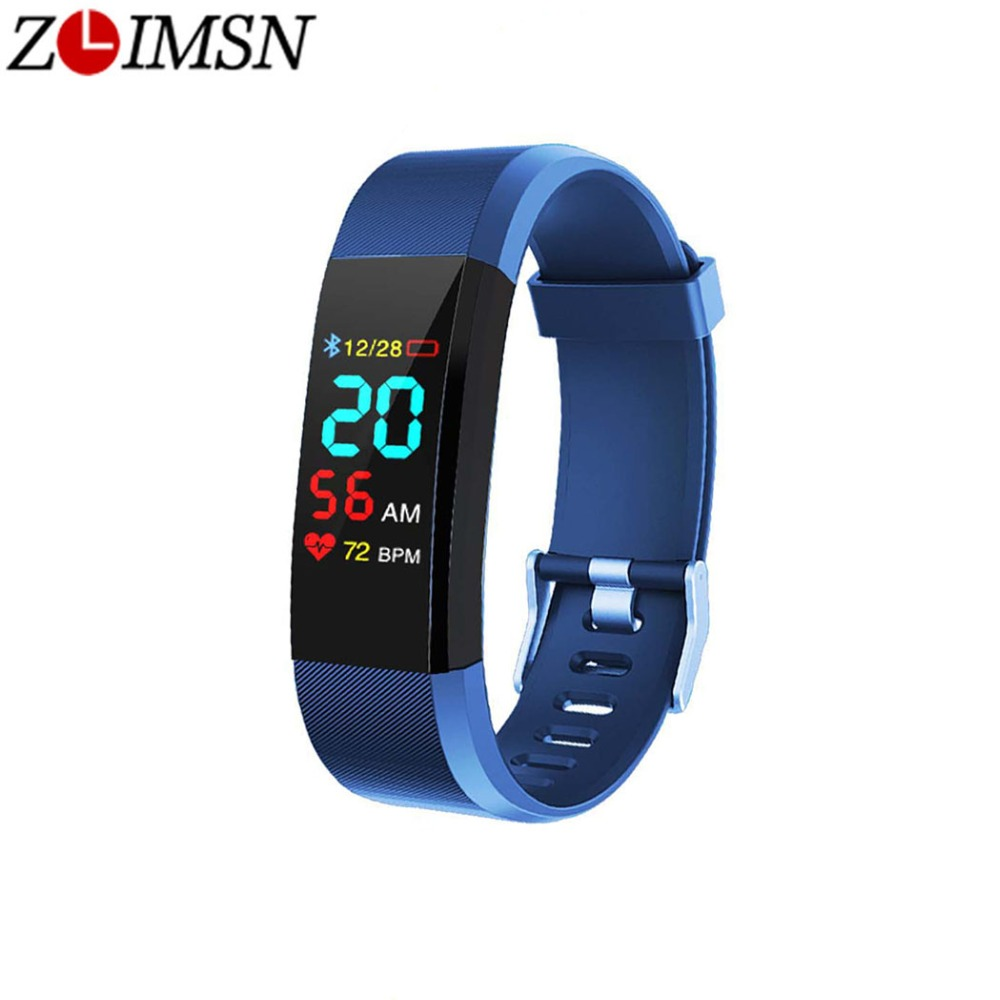 ZLIMSN Sport Watch Smart Bracelet LED Screen Blood Pressure Fitness Tracker Step Counter Heart Rate Monitor Band For Android IOS