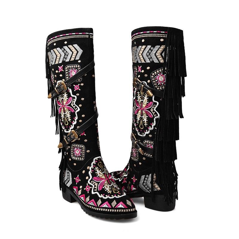 Véritable Femme Daim 33 Broderie Boucles Kairnluna 43 Qualité Bottes En Hiver Top Ethnique Vache Chaussures Fringe Noir Grande Style Taille Cuir vwONn8m0