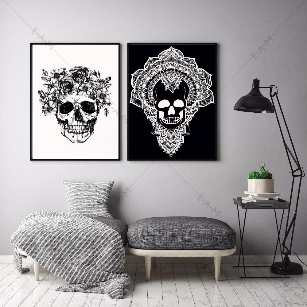 Schädel Skizze Kunstwerk Leinwand Kunstdruck Malerei Poster Mauerbilder Für  Wohnzimmer Home Dekorative Schlafzimmer Decor Kein Rahmen