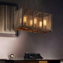 Lámpara colgante de hierro forjado industrial retro Loft jaula de hierro Rectangular barra de café lámpara de hierro