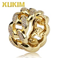 Xukim Jewelry Trendy Bling Bling Gold Silver Cuban Link Chain Ring AAA Cubic Zirconia ICed Out Hip Hop Jewelry Rings Gifts Party