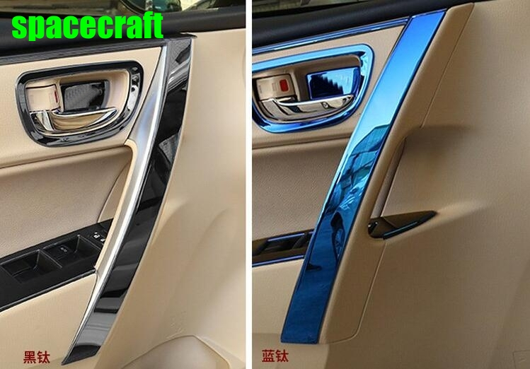 Auto inner door handle trim moulding for Toyota Corolla 2014-2017,stainless steel ,8pcs,car accessories stainless steel auto side door trim moulding auto accessories for mitsubishi pajero sport 2014
