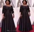 88-й Academy Awards Оскар Знаменитости Платья Плюс Размер Формальные Черный Вечерние Платья Три Четверти Рукава Red Carpet Пром Платья