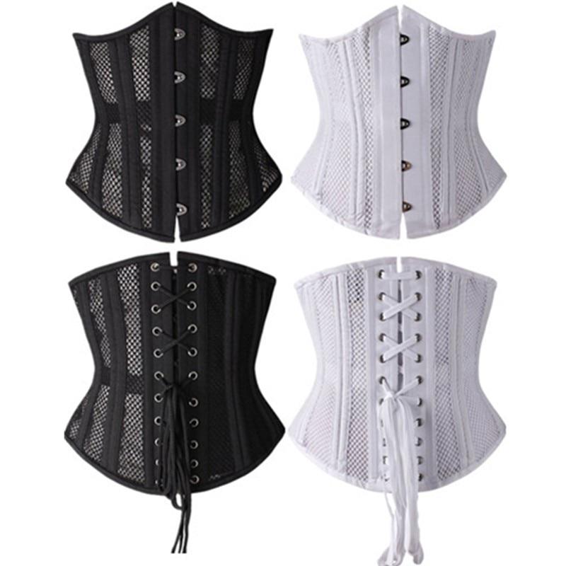 Abbille Newest Black 26 Steel Boned Girdles Mesh White Hollow Out Sexy Corset Underbust Women Waist Shaper Cincher Corsets 2017