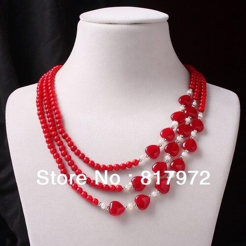 4118e246db1c Nueva moda multilayer 3 filas collar coral rojo del embutido del corazón  real perla collar Mujer Partido moda en Collares de cadena de Joyería y  accesorios ...