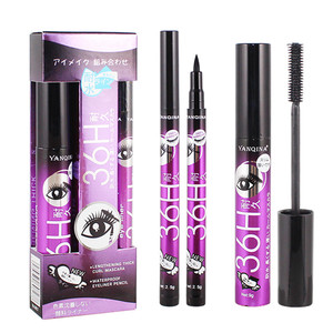 Image 1 - 36H Black Waterproof Liquid Mascara 4D Fiber Lashes Curling Thick Lengthening Black Mascara Volume Eyelashes Korea Makeup Set
