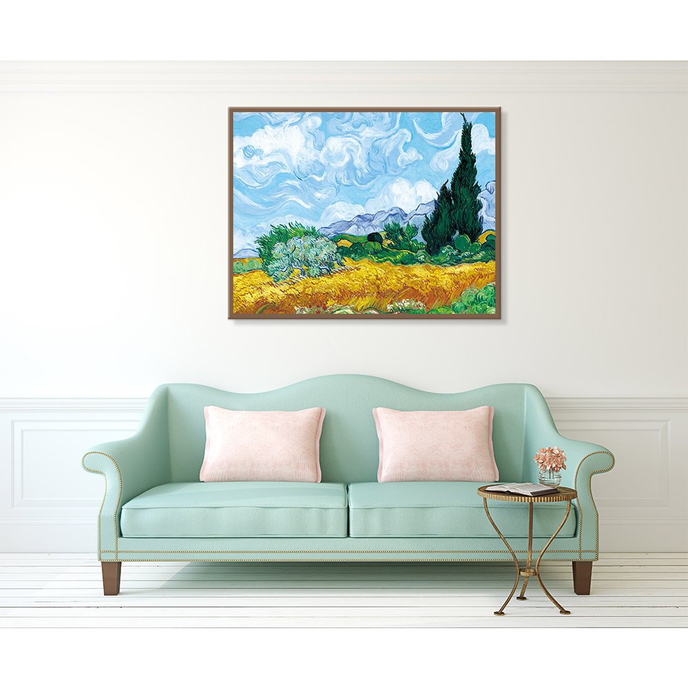 Van Gogh Wall Poster and Print Printed on Canvas Wheat Field with Cypresses Painting wall picture Mural for Living Room Decor