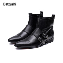 купить Batzuzhi Fashion Men Shoes Boots Pointed Soft Genuine Leather Boots Men Buckles Motorcycle,Knight, Work Boots for Men, Big US12 по цене 5880.43 рублей