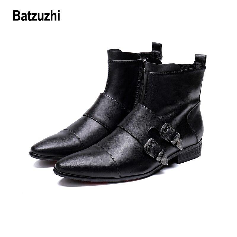 Los Punta Hebillas Negro Trabajo Hombres Caballero Batzuzhi Hombres Botas Big Moda Us12 Cuero Suave Para Zapatos Motocicleta Genuino IRqnCfxw18