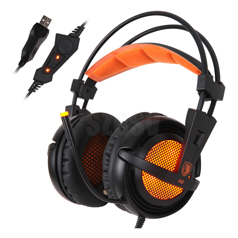 Sades A6 Gaming Headphones 7.1 Surround Sound Stereo USB Game Headset with Microphone Breathing LED Lights for PC Gamer (3)