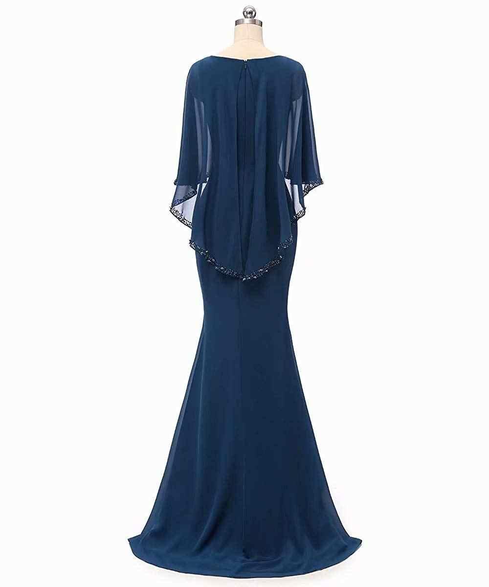 Vestidos de Fiesta de noche largo hasta el suelo con cuentas de cuello redondo para madre de la novia tamaño grande