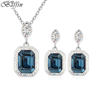 Original Crystals from Swarovski Elements Jewelry Sets Square Pendants Necklace Piercing Earrings Women Party Gifts
