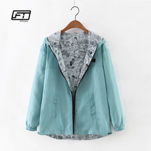 Fitaylor 2017 Autumn Women Bomber Basic Jacket Pocket Zipper Hooded Two Side Wear Cartoon Print Outwear Loose Coat windbreaker