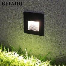 BEIAIDI 3 Вт светодиодный встраиваемый лестничный ступенчатый светильник напольный ступенька напольный подземный Точечный светильник светодиодный светильник для ног встроенный угловой светильник