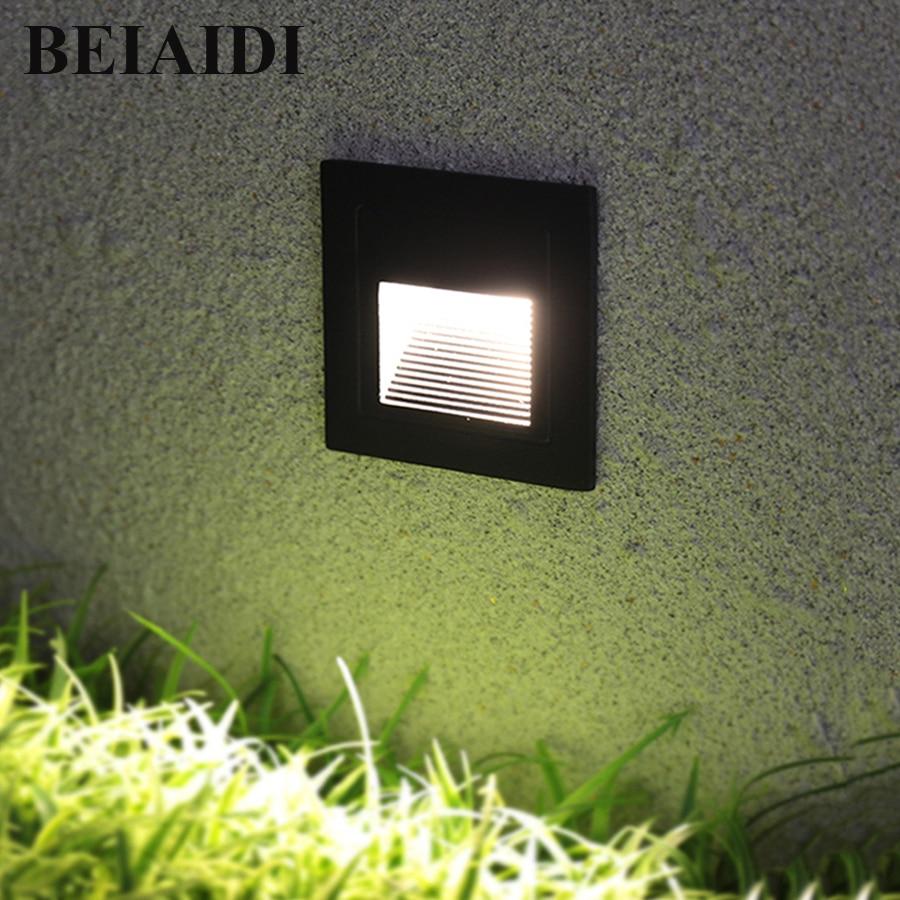 BEIAIDI 3W LED Recessed Stair Step Light Outdoor Floor Stair Deck Underground Spotlight Led Footlight Embedded Corner LampBEIAIDI 3W LED Recessed Stair Step Light Outdoor Floor Stair Deck Underground Spotlight Led Footlight Embedded Corner Lamp