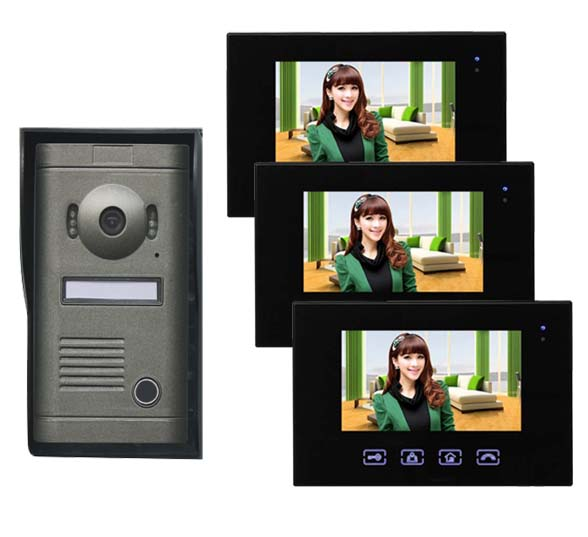 2016 New Arrival Touch key 7inch wired video door phone, HD waterproof camera, night vision 1 camer+3 monitor