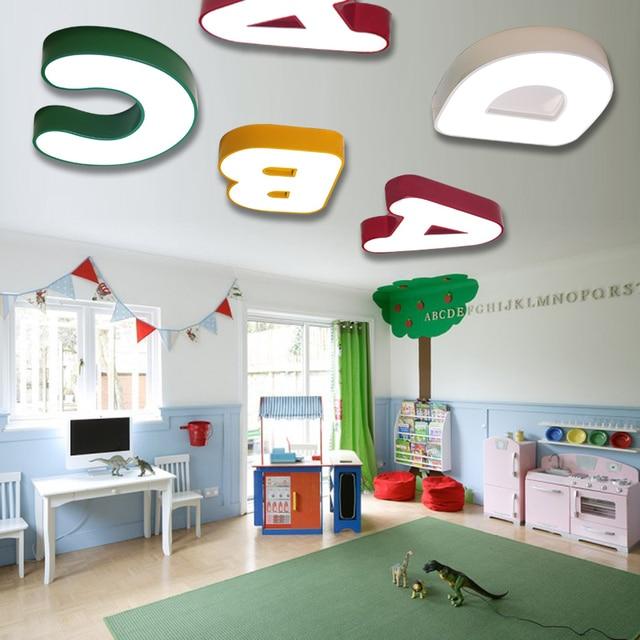 Faslin Cute Alphabet Lamp Ceiling Lights Childrens Room Boy Bedroom Warm Nursery Top Et85
