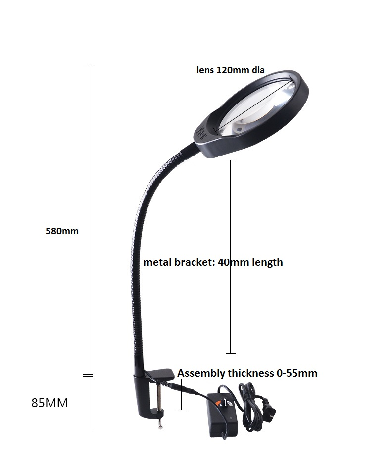 Hands-free Loupe Flexible Arm 5X 8X 10X Optional Magnifying Glass Lamp 2 in 1 Lighted Magnifier Desk Lamp Adjustable LED light