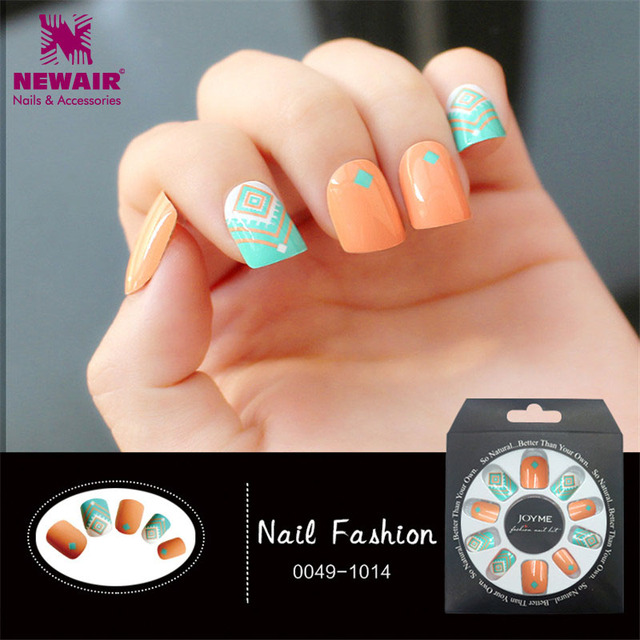 24pcs Square Short False Nails with Design Full Cover Fake Nail ...