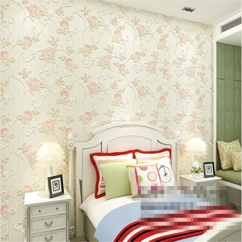 beibehang  non wovens wallpaper romantic warm pastoral  stereo bedroom living room TV background wallpaper papel de parede beibehang thick version of the vertical striped wallpaper warm living room bedroom pastoral non woven tv background wallpaper