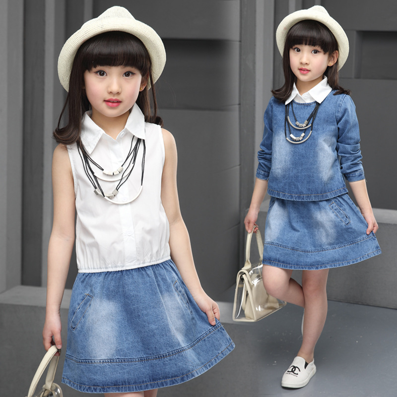 ФОТО 2016 Spring and Autumn new children's clothing girls fashion casual denim skirt two-piece suit big virgin child Foreign Direct