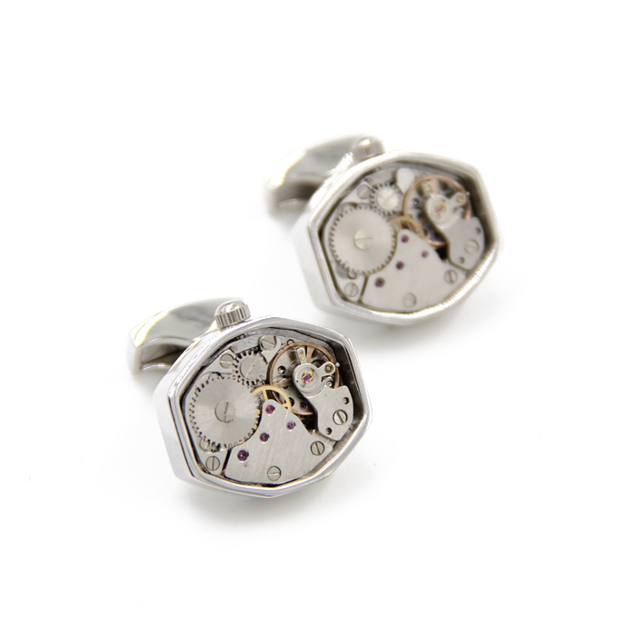 Promotion Wholesale Fashion Irregular Polygon Non Functional Silver Watch Cufflinks as Gifts for Men