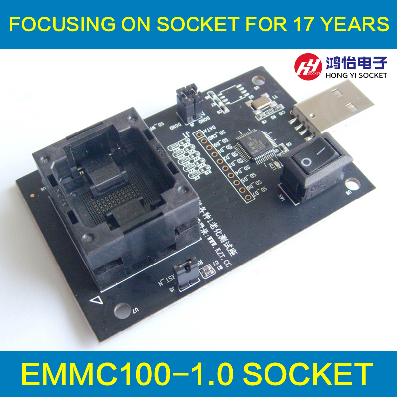 eMMC100 socket USB Interface,for BGA100 testing, Nand flash Size 12x18mm Pitch 1.0mm eMMC Reader programmer data recovery socket emmc100 socket bga100 test android phone nand flash emmc reader programmer socket adapter usb interface to read by pc directly