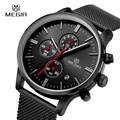 MEGIR Men's Quartz-Watch Stainless Steel Mesh Band Black Watch Chronograph Slim Watches Men Top Luxury Brand Relogio Masculino
