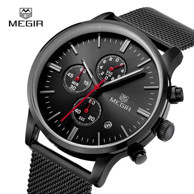 שעון קוורץ של גברים MEGIR שעון הכרונוגרף Slim שחור להקת רשת נירוסטה שעונים לגברים למעלה מותג יוקרה Relogio Masculino