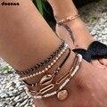 Ножные браслеты docona в стиле бохо с золотистыми ракушками, набор для женщин, черные плетеные подвески из белого жемчуга, ножные браслеты с бу...