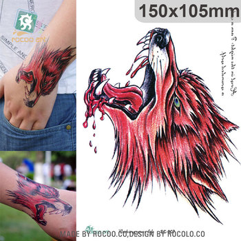 SC-907/Large 3D Sketch Horrible Red Blood Wolf Head Designs Cool Chest Body Art Temporary Tattoo Stickers Fake Big Tatoos wolf by wolf blood for blood
