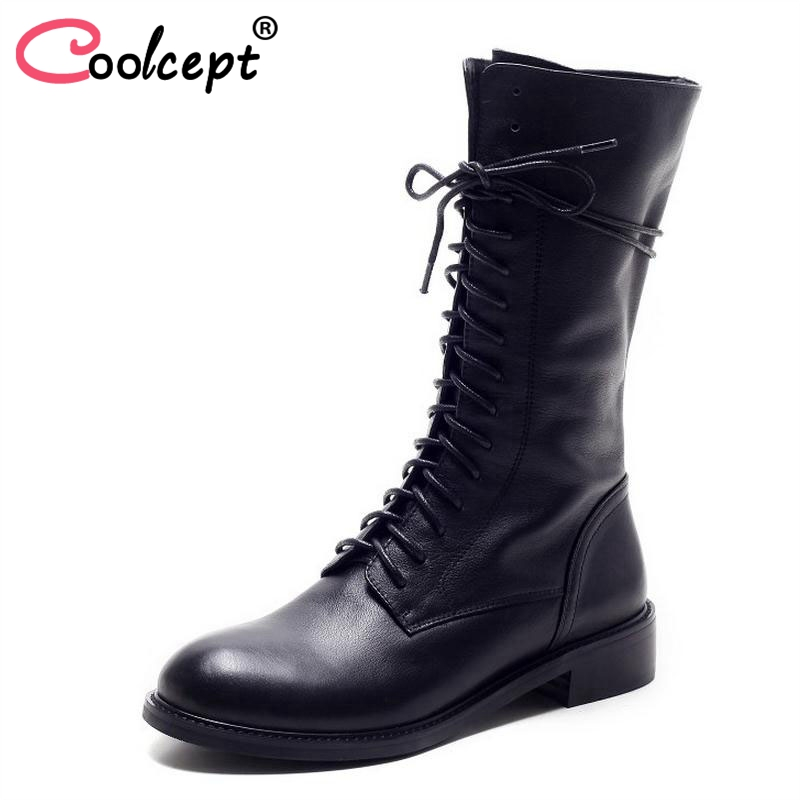 Winter Women Boots Genuine Leather Round Toe Lace Up Half Boots Ladies Flat Botas Mujer Riding Boots Women Shoes Size 34-39 цена 2017